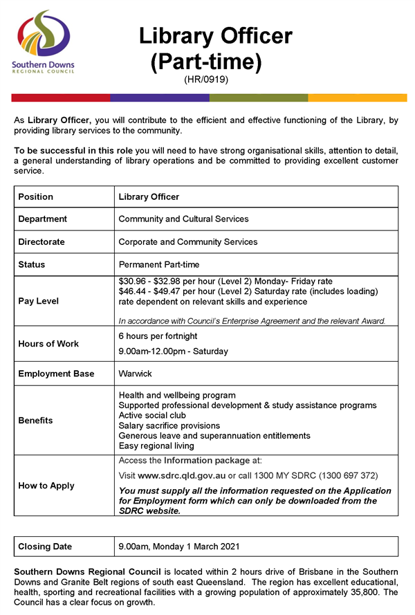 HR0919 Library Officer - part-time - Advert -Feb 2021